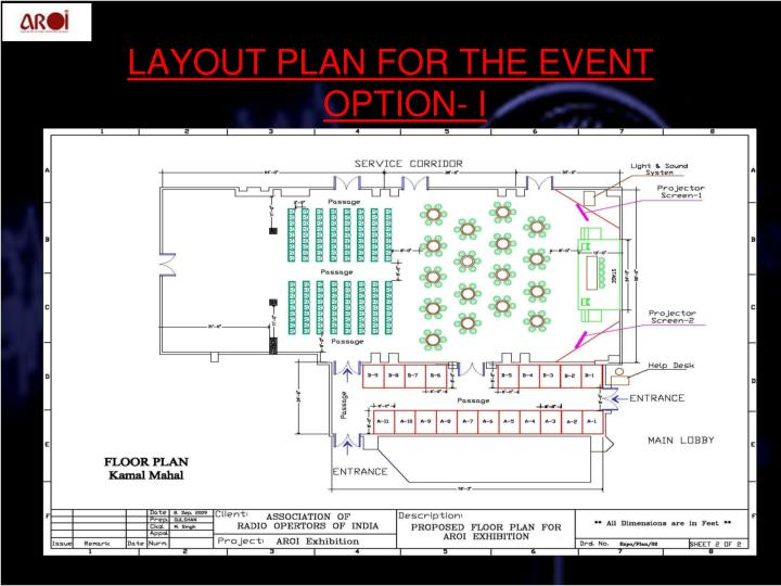 LAYOUT PLAN FOR THE EVENT  OPTION- I