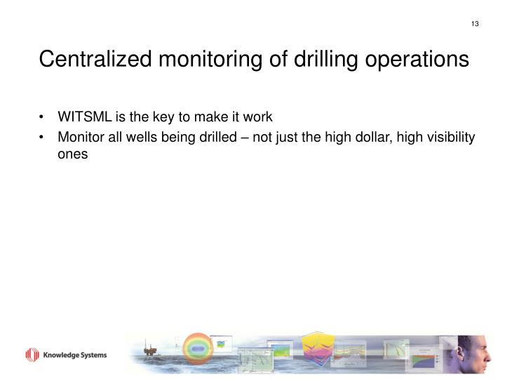 Centralized monitoring of drilling operations