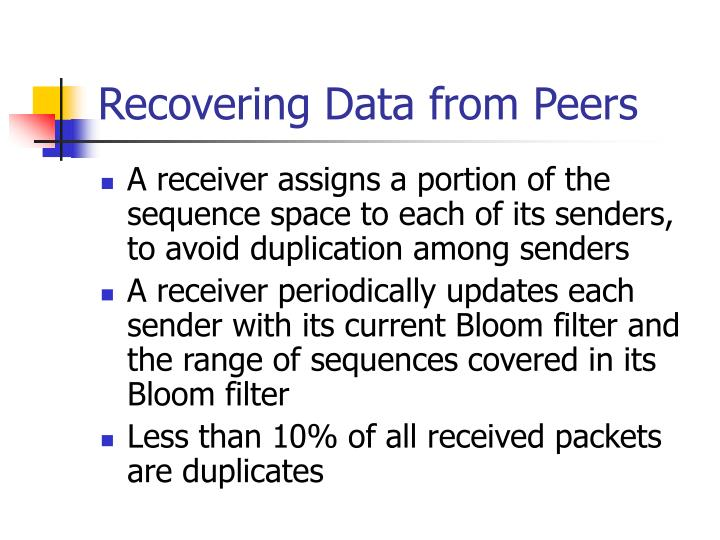 Recovering Data from Peers