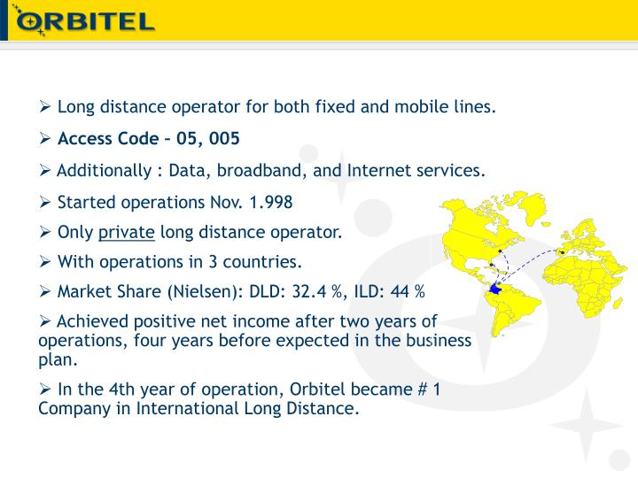 Long distance operator for both fixed and mobile lines.