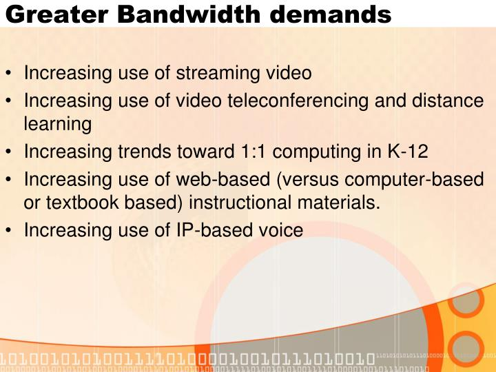 Greater Bandwidth demands