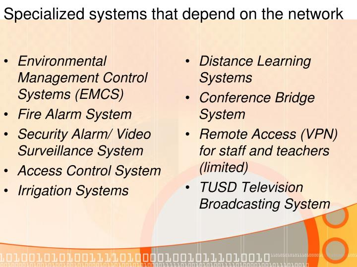 Specialized systems that depend on the network