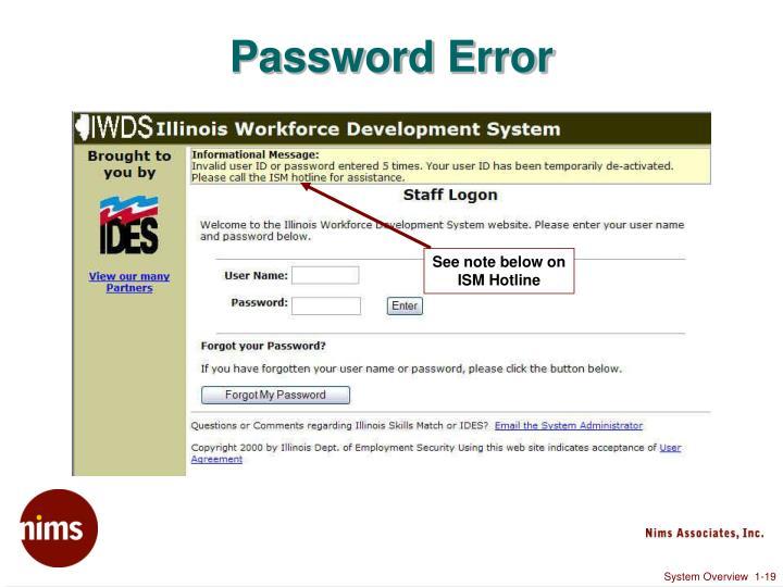 Password Error