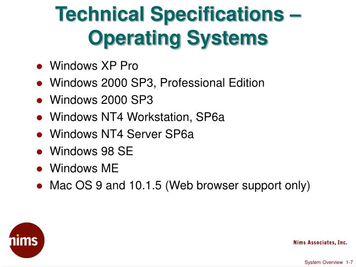 Technical Specifications – Operating Systems