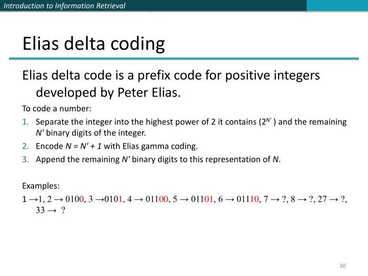 Elias delta coding