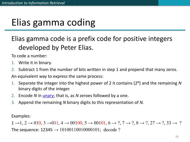 Elias gamma coding