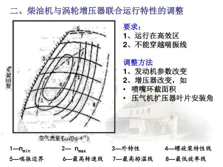 二、柴油机与涡轮增压器联合运行特性的调整
