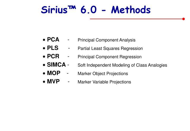 Sirius™ 6.0 - Methods