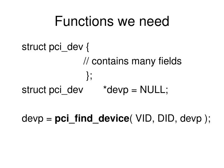 Functions we need