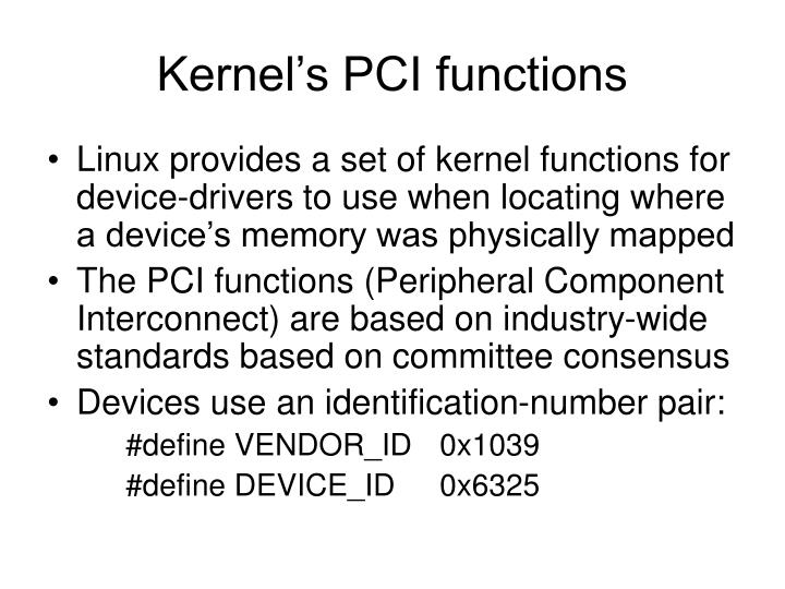 Kernel's PCI functions