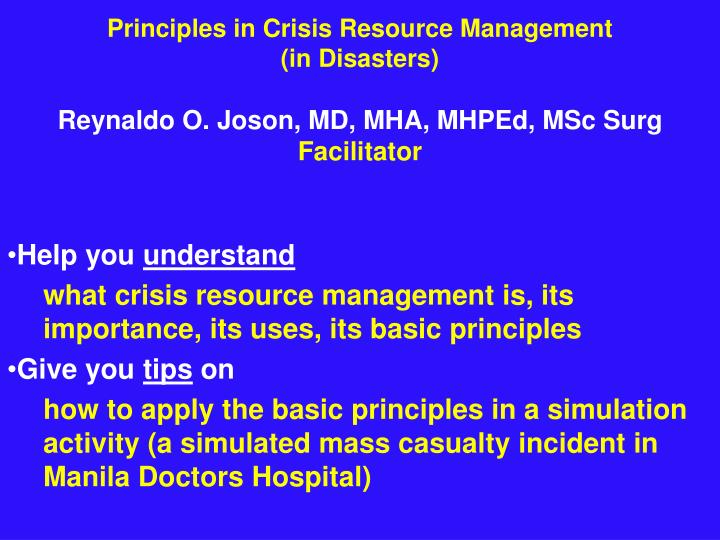 Principles in Crisis Resource Management
