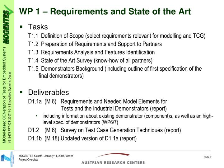 WP 1 – Requirements and State of the Art