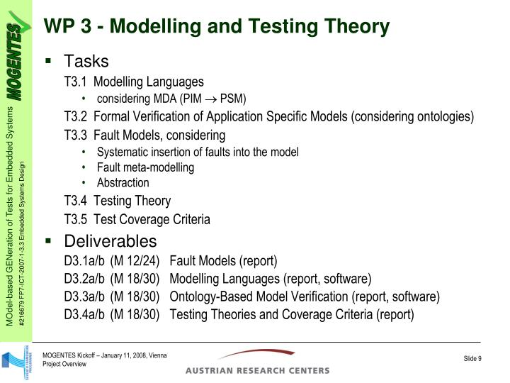 WP 3 - Modelling and Testing Theory