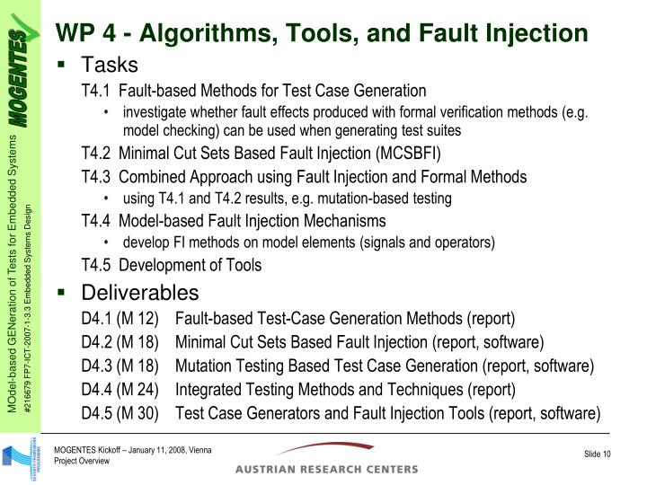 WP 4 - Algorithms, Tools, and Fault Injection