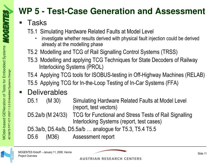 WP 5 - Test-Case Generation and Assessment