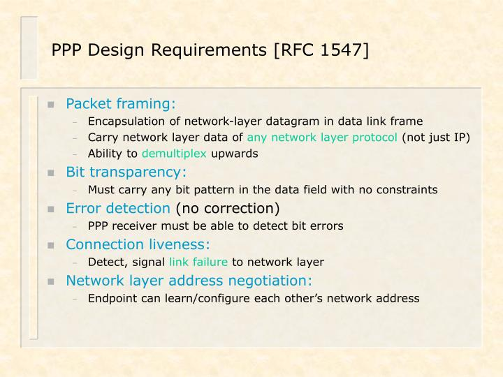 PPP Design Requirements [RFC 1547]