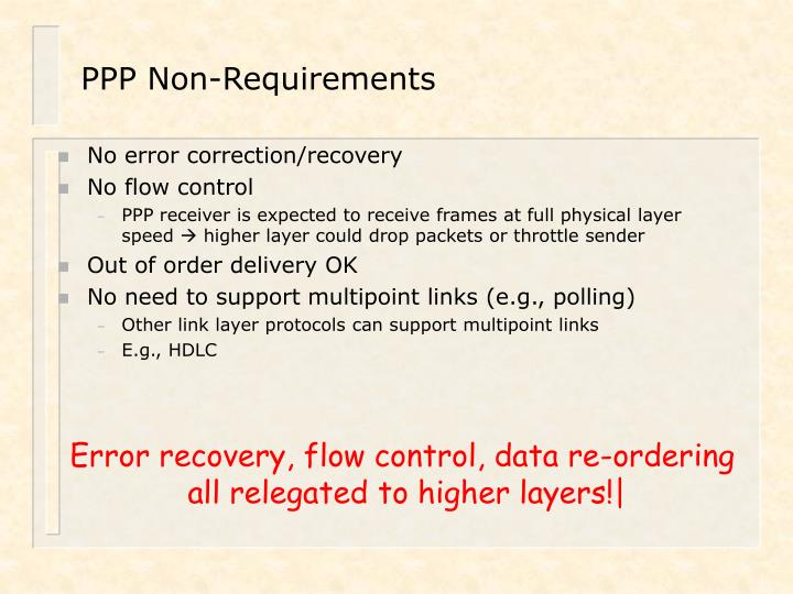 PPP Non-Requirements