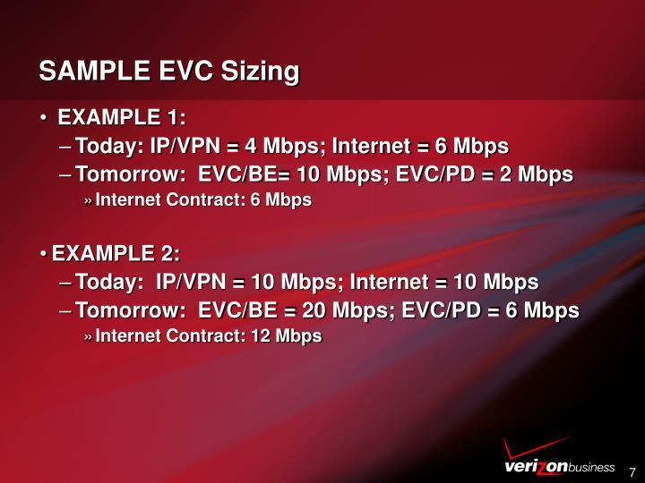 SAMPLE EVC Sizing