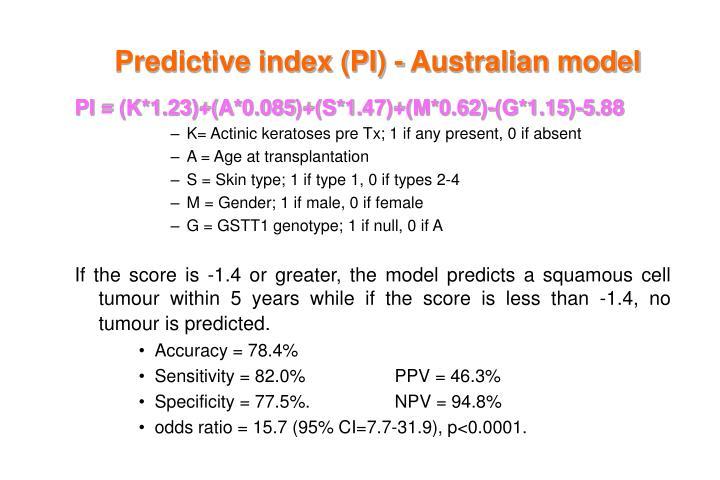 Predictive index (PI) - Australian model