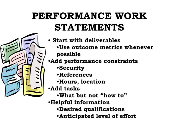 PERFORMANCE WORK