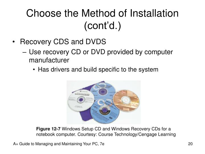 Choose the Method of Installation (cont'd.)