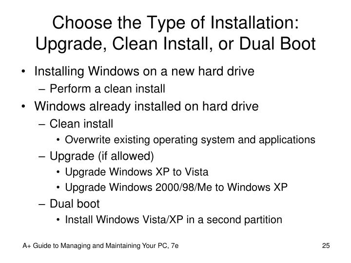 Choose the Type of Installation: Upgrade, Clean Install, or Dual Boot