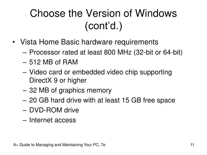 Choose the Version of Windows (cont'd.)