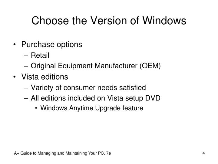 Choose the Version of Windows