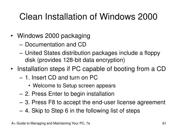 Clean Installation of Windows 2000