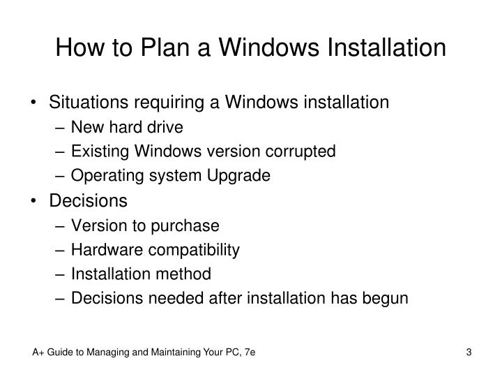 How to Plan a Windows Installation