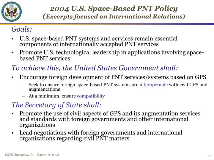 2004 u s space based pnt policy excerpts focused on international relations