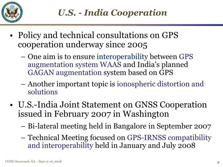 U.S. - India Cooperation