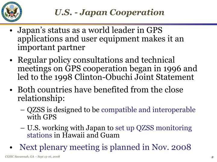 U.S. - Japan Cooperation