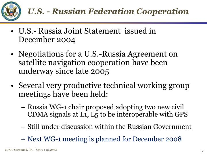 U.S. - Russian Federation Cooperation