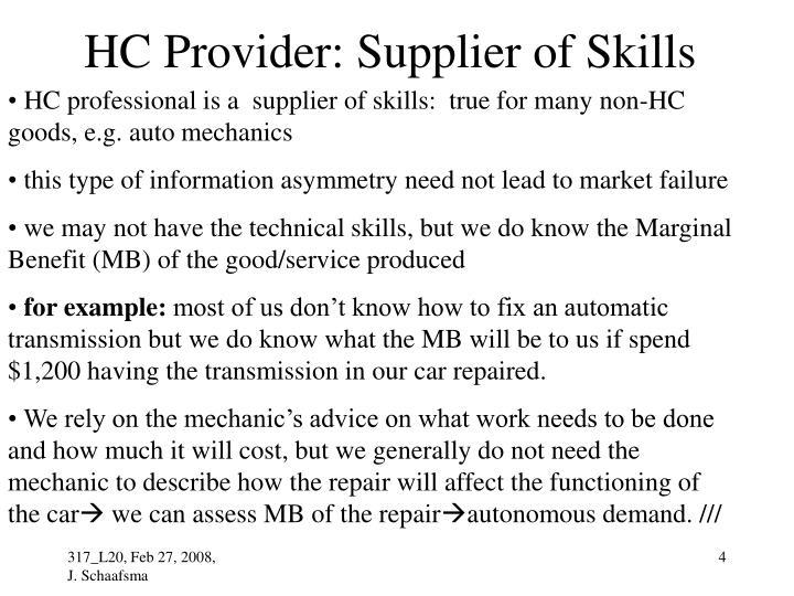 HC Provider: Supplier of Skills