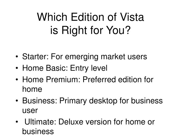 Which Edition of Vista