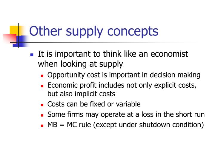 Other supply concepts