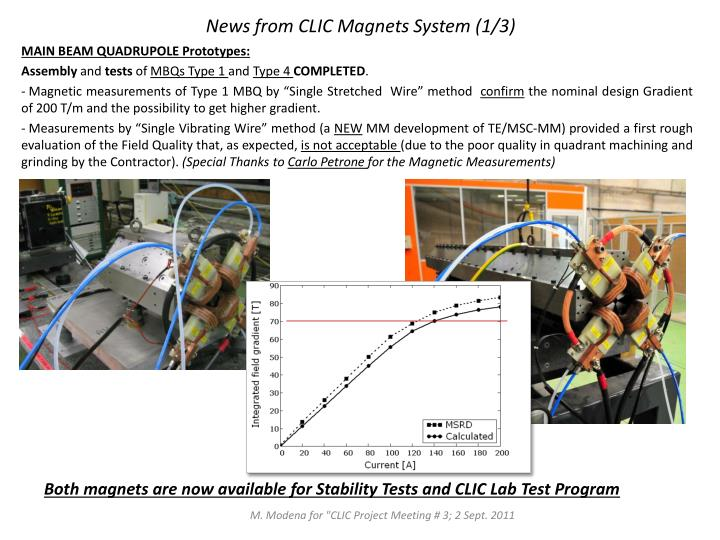 News from CLIC Magnets System (1/3)