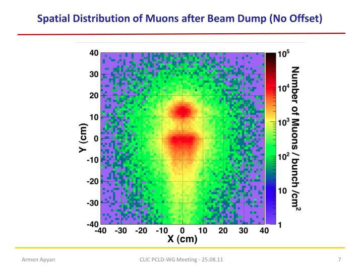 Spatial Distribution of Muons after Beam Dump (No Offset)