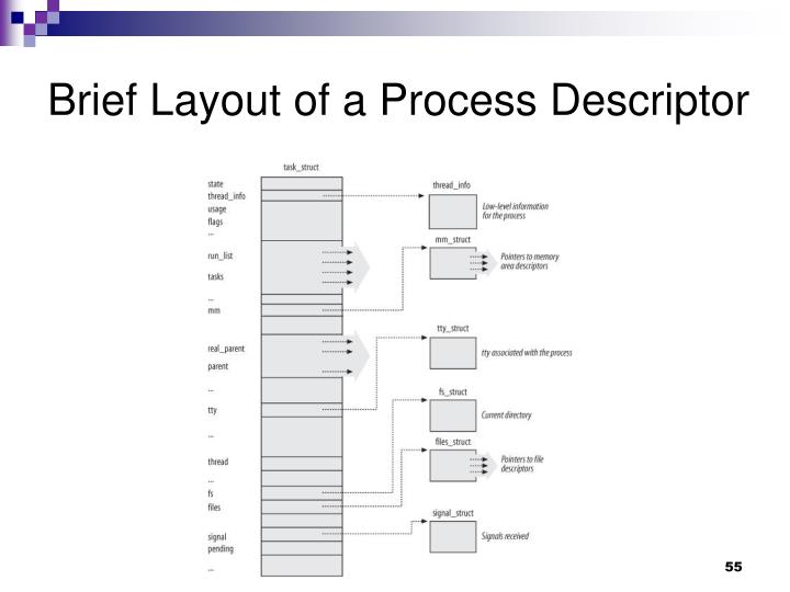 Brief Layout of a Process Descriptor