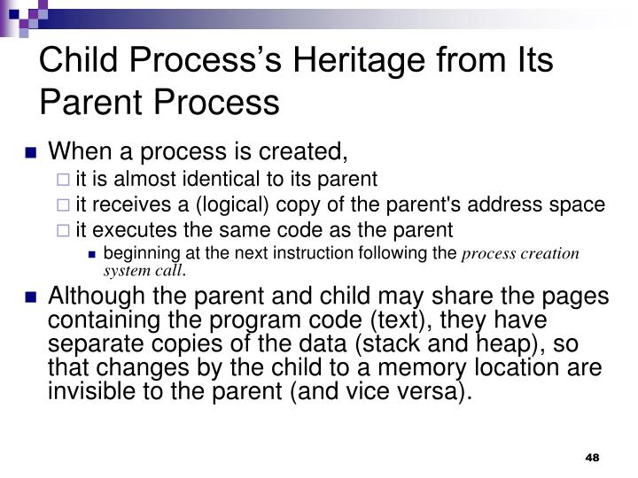 Child Process's Heritage from Its Parent Process