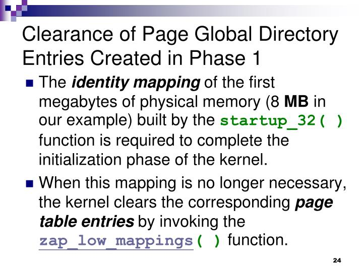 Clearance of Page Global Directory Entries Created in Phase 1