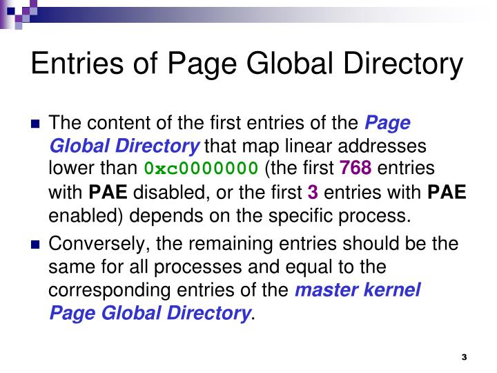 Entries of page global directory