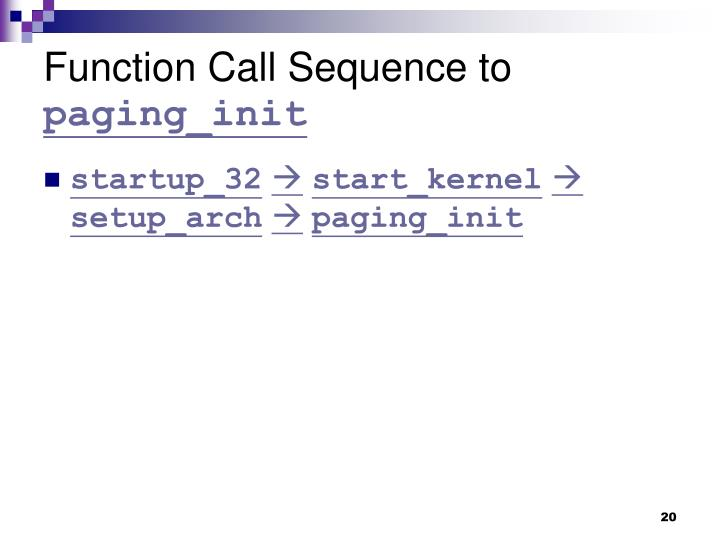 Function Call Sequence to