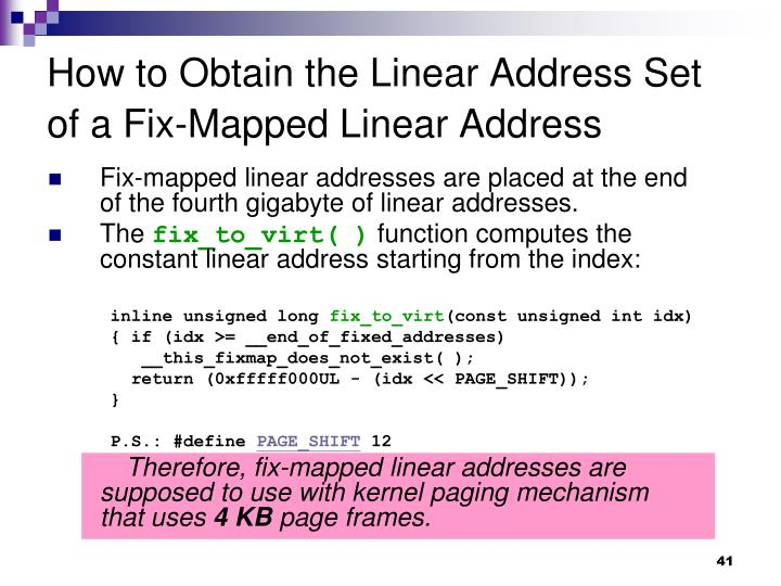 How to Obtain the Linear Address Set of a Fix-Mapped Linear Address
