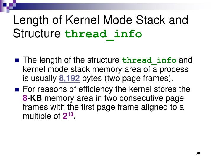 Length of Kernel Mode Stack and Structure