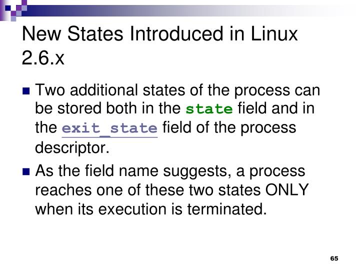 New States Introduced in Linux 2.6.x