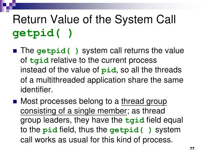 Return Value of the System Call