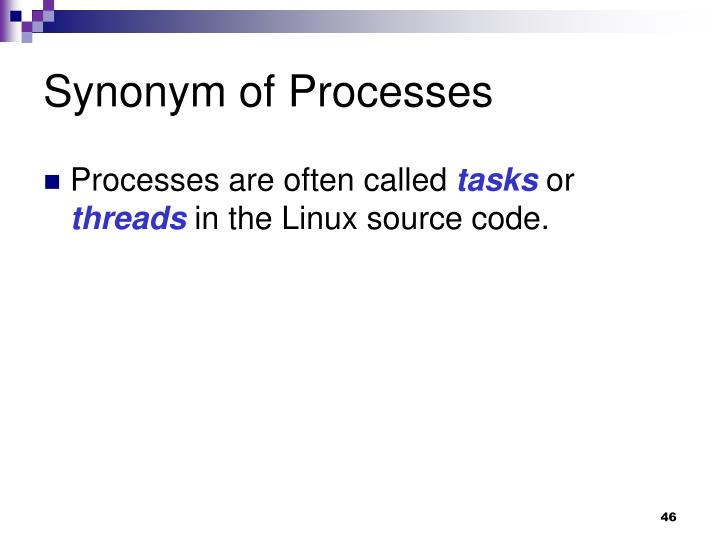 Synonym of Processes