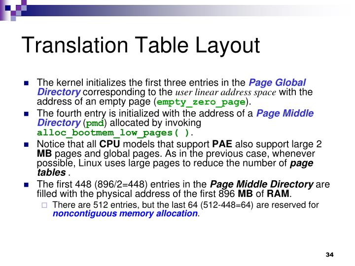 Translation Table Layout